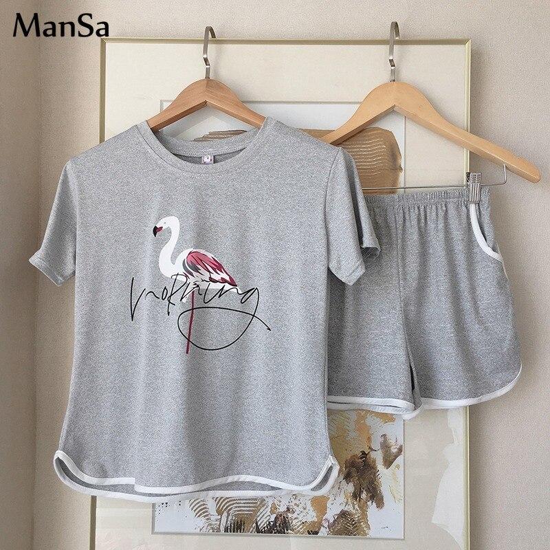 Лидер продаж, летние шорты, пижамные комплекты для женщин, одежда для сна с коротким рукавом, милая мультяшная Пижама для девочек, Женская до...