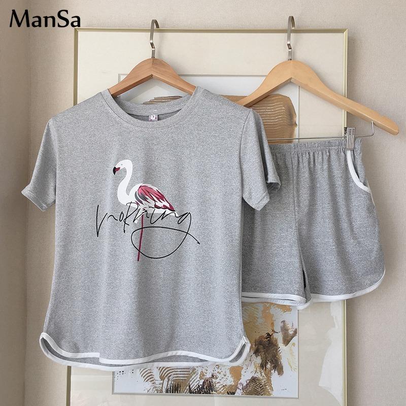 Hot sale Summer Shorts Pajama Sets for Women Short Sleeve Sleepwear Cute Girls Cartoon Pyjama Homewear Pijama Mujer Home Clothes