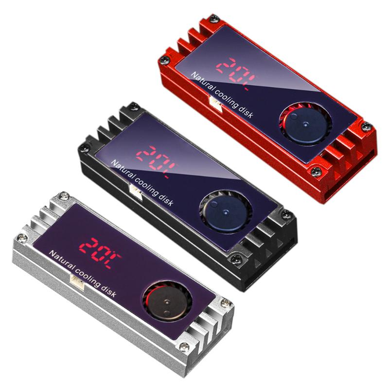 M.2 2280 SSD Heatsinks Heat Temperature OLED Screen Digital Display Solid State Hard Disk Radiator Aluminum M.2 Cooling Cooler