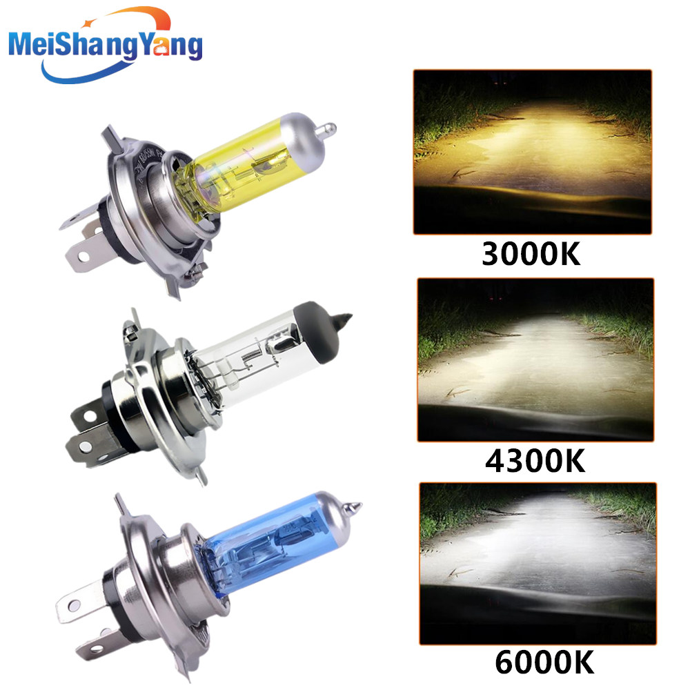 Super White Yellow Halogen Bulb H4 H7 12V 100W 3000K 4300K 6000K Quartz Glass Car Headlight Lamp Motorcycle Light Lamp
