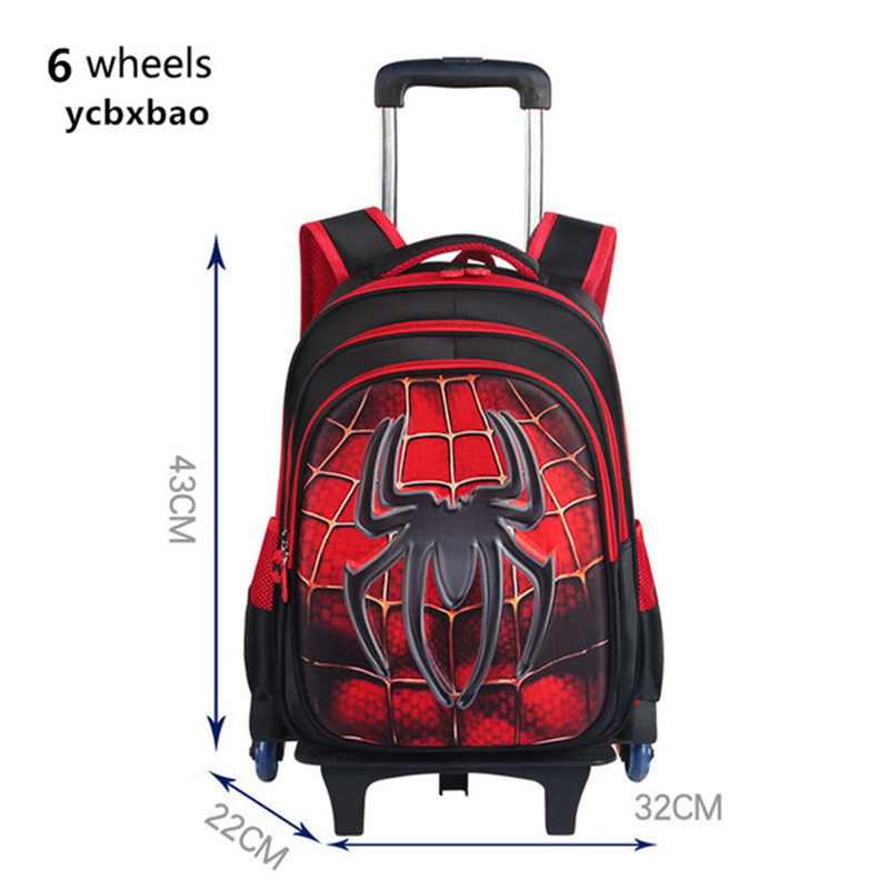 3D Trolley School Bag Climb The Stairs Luggage Cartoon Stationery Children Backpack With Wheels Removable Schoolbags