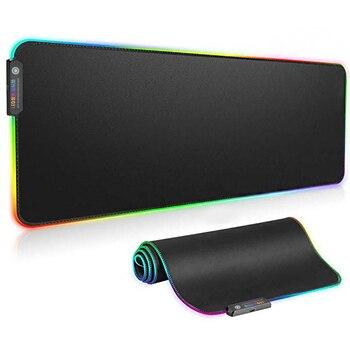 RGB мягкий игровой коврик для мыши труба негабаритный светодиодный расширенный водонепроницаемый коврик для мыши нескользящая резиновая ос...