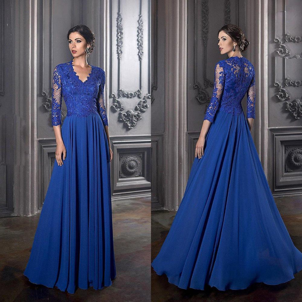 Elegant Blue Mother Of The Bride Dresses Long Sleeves Lace Exquisite Chiffon Groom Mother Dress A Line Wedding Party Guest Gowns