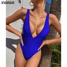 INGAGA-bañadores de una pieza para mujer, de corte alto traje de baño, Sexy, Bandage cruzado, sin espalda, azul sólido, novedad de 2021
