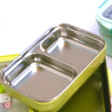 Practical Double-layer Rectangular Lunch Box Simple-style Stainless Steel Insulated Porable Bento