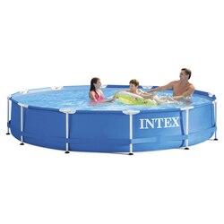 INTEX 366*76cm blau Piscina Runde Rahmen Pool Set Rohr Rack Teich Große Familie Pool Mit filter Pumpe B32001