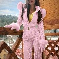 Women Winter Jumpsuit Zipper Ski Suit Warm Snowsuit Outdoor Sports Pants Ski Suit Waterproof Jumpsuit TH36