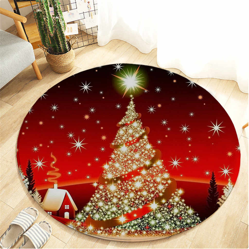 Merry Christmas Round Mat For Bedroom Computer Chair Area