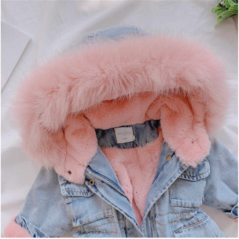 Kid Baby Girl Denim Down Jacket Plus Velvet Real Fur Warm Toddler Outerwear Coats 1-6 Year