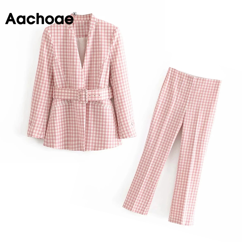 Aachoae Women Plaid 2 Piece Blazer Set V Neck Long Sleeve Blazer With Belt Elastic Waist Zipper Fly Pencil Pants Lady Spring
