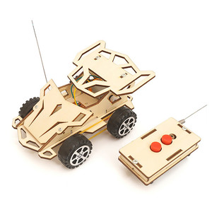 Assembled Electric Remote Control Jeep Wooden Puzzle Toy Racing Car Lightweight Classic Children's Remote Control Car Toy#P30