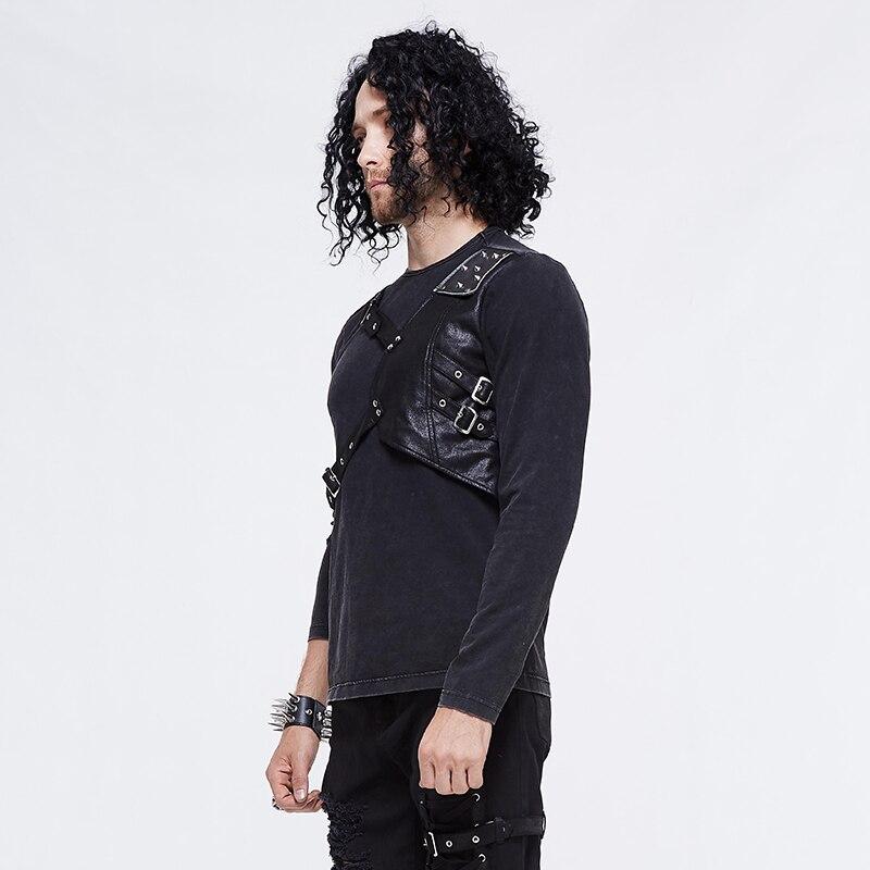 Футболка для мужчин стимпанк Круглый вырез простой черный укороченный топ кожаный ремень для забавных Slim Fit Топы - 2