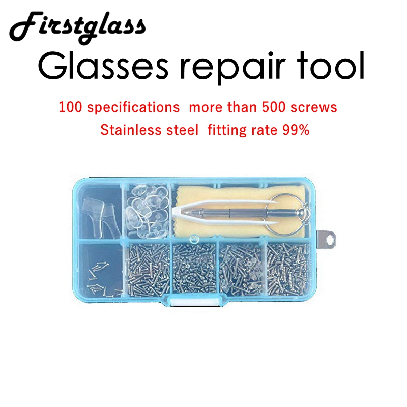 500 Pcs Glasses Screws Sunglass Repair Kit Tool Glasses Screwdriver Glasses Accessories 10 Pairs Nose Pads Holder Glasses Hook