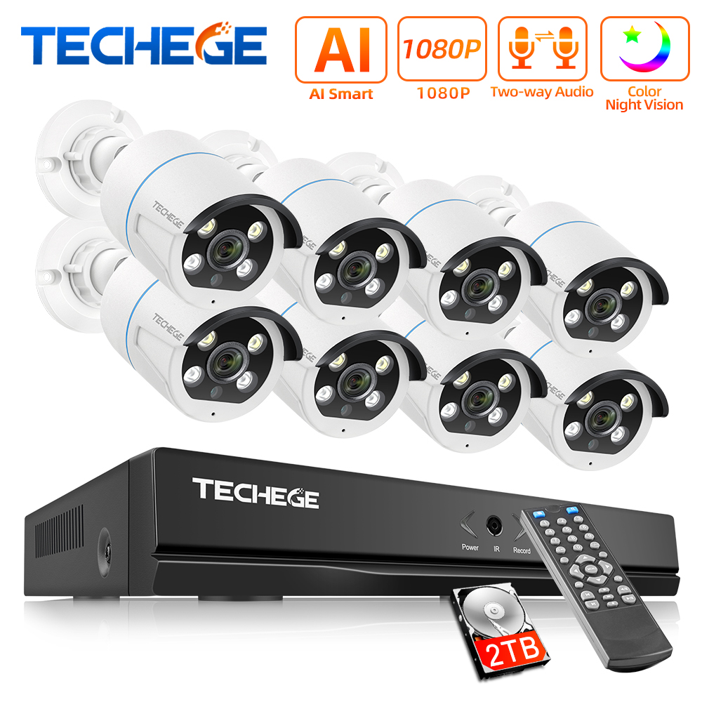 Closeout Deals^Techege System-Kit Security-Camera POE Outdoor H.265 2MP 1080P 8CH Two-Way Waterproof