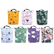 Printed Pocket Wet Diaper Bag Waterproof Reusable Nappy Bags Travel Baby Nappy Mini Size Wet Dry Bags Wetbags 25x18cm Wholesale 10 pcs pail liner waterproof cloth diaper bags waterproof wet bag reusable wet dry bags nappy bag 50x60cm