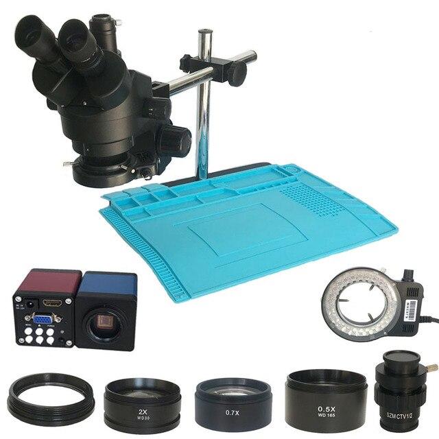 3.5X  90X simul focal Trinocular Stereo Microscope industrial13MP HDMI VGA digital microscopio camera PCB BAG Soldering pad mat