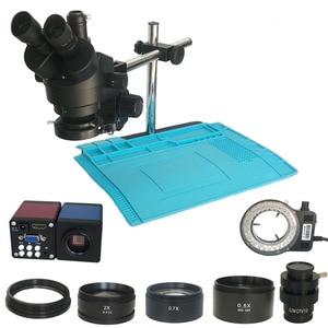 Image 1 - 3.5X  90X simul fokal trinoküler Stereo mikroskop industrial13MP HDMI VGA dijital microscopio kamera PCB çantası lehim pad mat