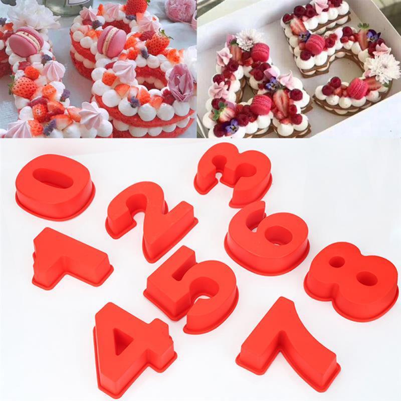 Большая силиконовая форма для торта, 10 дюймов, 0 9 цифр, Цифровая форма для торта с мастикой, сковорода для выпечки, инструменты для украшения торта на день рождения, фестиваль Формы для тортов    АлиЭкспресс - силиконовые формочки