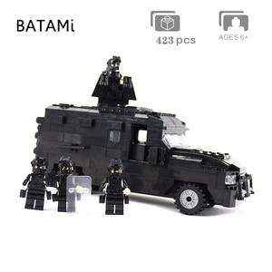 Image 3 - 도시 빌딩 블록과 호환되는 모델 구축 키트 Swat 방폭 자동차 세트 423 pcs 4 벽돌 minfigures 장난감