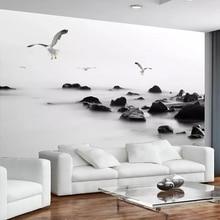 Пользовательские 3D обои черно-белые каменные современные модные художественные обои для гостиной, дивана, фона для телевизора, внутреннее ...