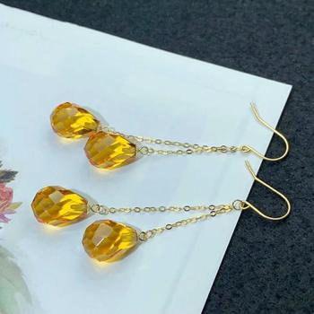 shilovem 18k yellow gold citrine drop earrings  fine Jewelry women party new classic plant  gift 8*11mm myme0811222j 4