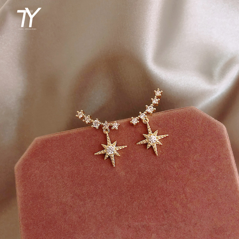Ba Mang Star Earrings Pure Silver Needle Commuter Earrings Simple And Small Personality Octagon Star Earrings Female New Fashion