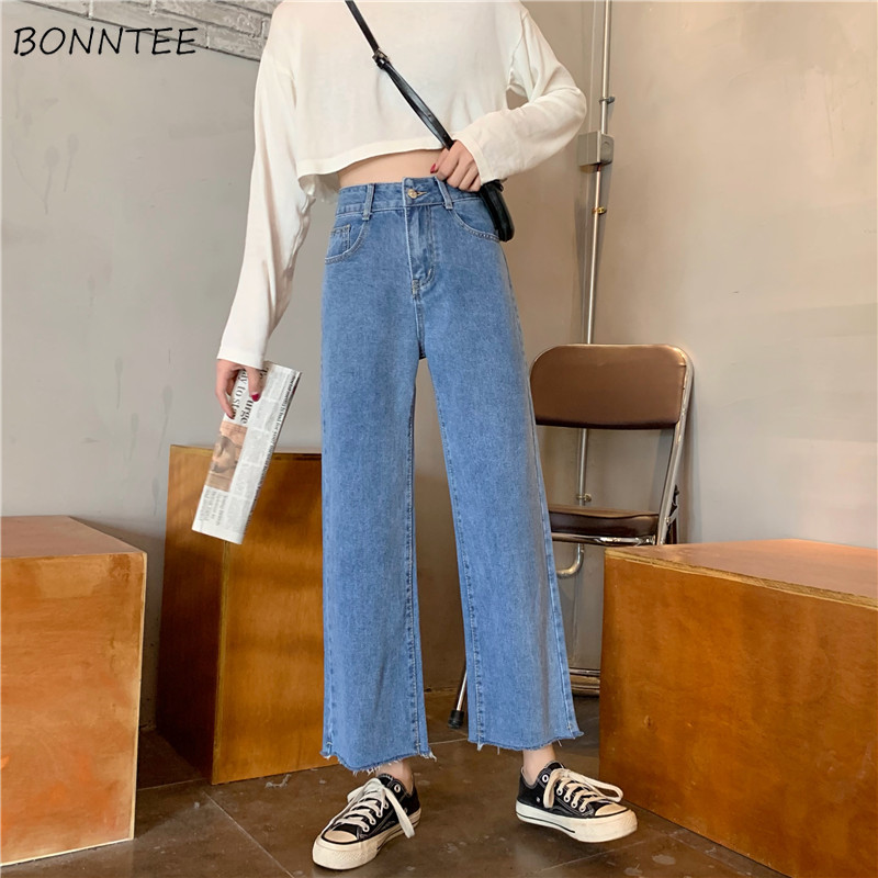 High Waist Jeans Women Autumn Loose Vintage Straight Korean Fashion Top Shop Trousers Solid Slim Streetwear Womens Hot Sale Soft