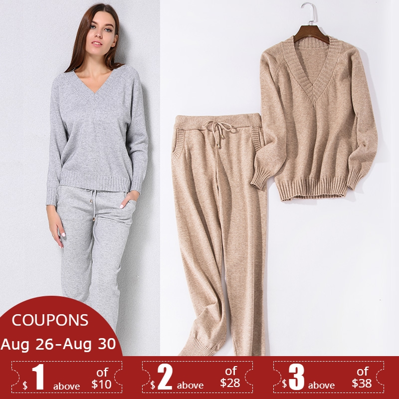 Sweater Suit Pants Clothing-Set Jumper Trousers Tops Knitted Setscasual Women 2PCS And