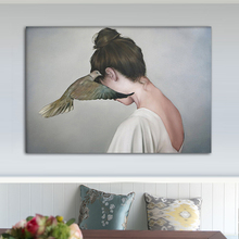 RELIABLI ART Girl Bird Pictures Nordic Style Posters And Prints Canvas Painting Wall Art For Living Room Decoration Surrealism