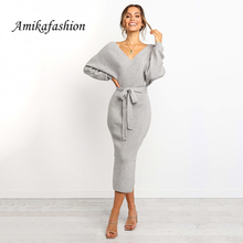 Fashion Women Sweater Woven Dress Coat Tunic With Belted Dresses Long Sleeve Double Neck In V Split Casual Autumn Dresses 2019 Y