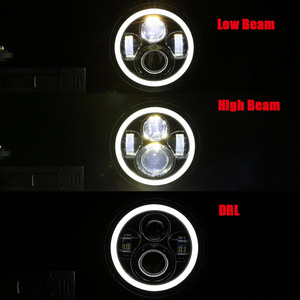 Image 2 - 2Psc 7 Inch LED Headlight H4 Hi Lo With Halo Angel Eyes For Lada 4x4 urban Niva Jeep JK Land rover defender Hummer