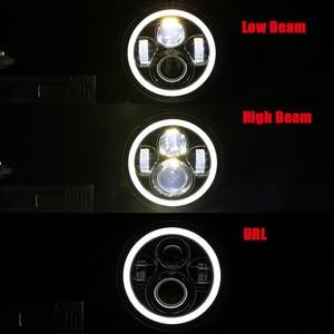 Image 2 - 2Psc 7 بوصة LED المصباح H4 مرحبا لو مع هالو عيون الملاك ل Lada 4x4 الحضرية نيفا جيب JK لاند روفر المدافع هامر