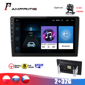 AMPrime 2 Din Android GPS Car Radio 9''1080P 2.5D Tempered Glass Mirror 2 Din Car MP5 Player Bluetooth WIFI GPS FM 2 32G Radio image