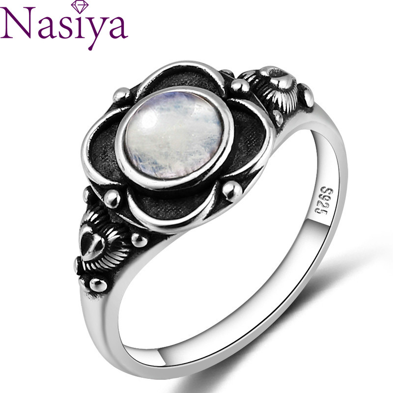 Nasiya Luxury Ethnic Flower Shape Rings With Natural Moonstone Women 925 Silver Gemstone Jewelry Wholesale Dropshipping Gifts