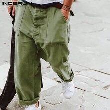 INCERUN-Pantalones informales a cuadros para Hombre, ropa de calle con botones, Pantalones de pierna ancha, holgados, rectos, 7