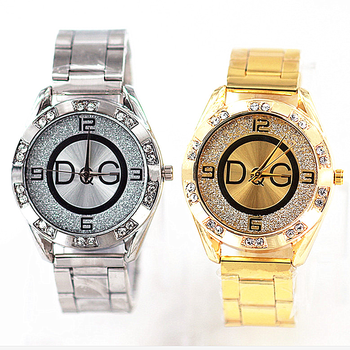 Reloj mujer Luxury brands DQG women watches Gold Silver stainless Crystal Quartz Watch Outdoor Sport ladies Watch Hot sale