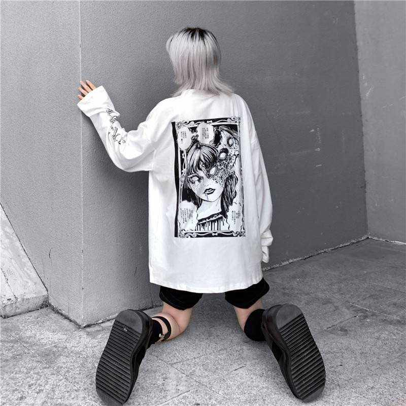 NiceMix Cartoon Horror Graphic T-shirt Women Character Print Loose Punk Japanese T Shirts Pullover Top Harajuku Street Tees