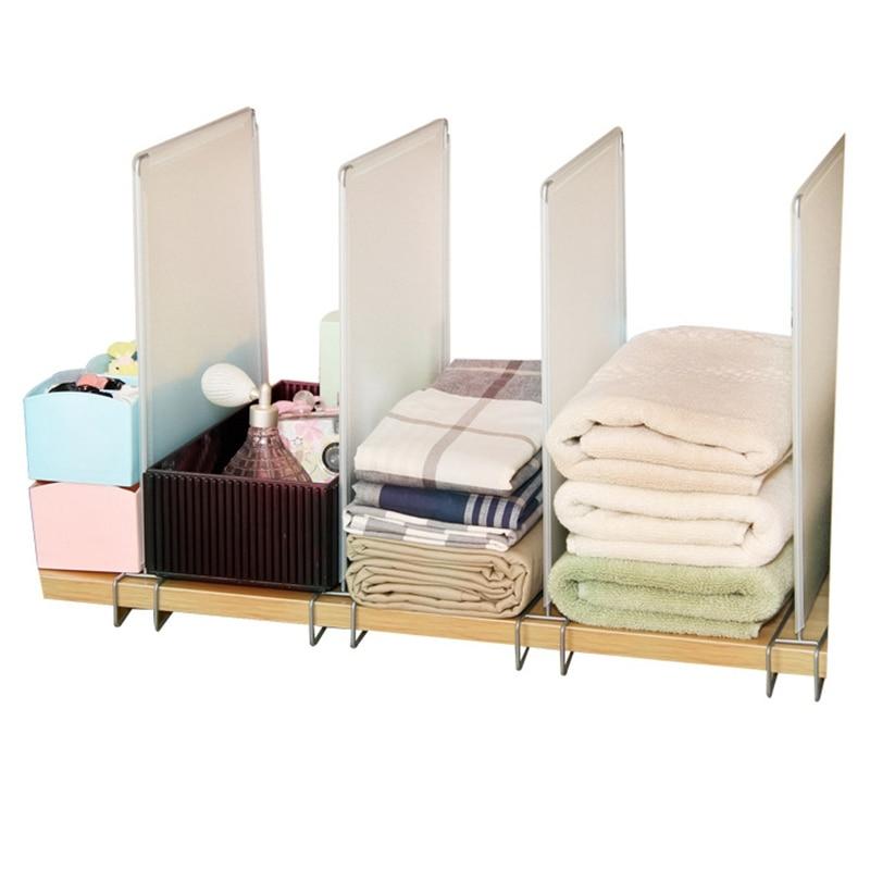 New-4Pcs Closet Divider Shelf Space Saving Shelves Wire Design Pp Wardrobe Chest Partition Clothes Storage Rack Drawer Organizer