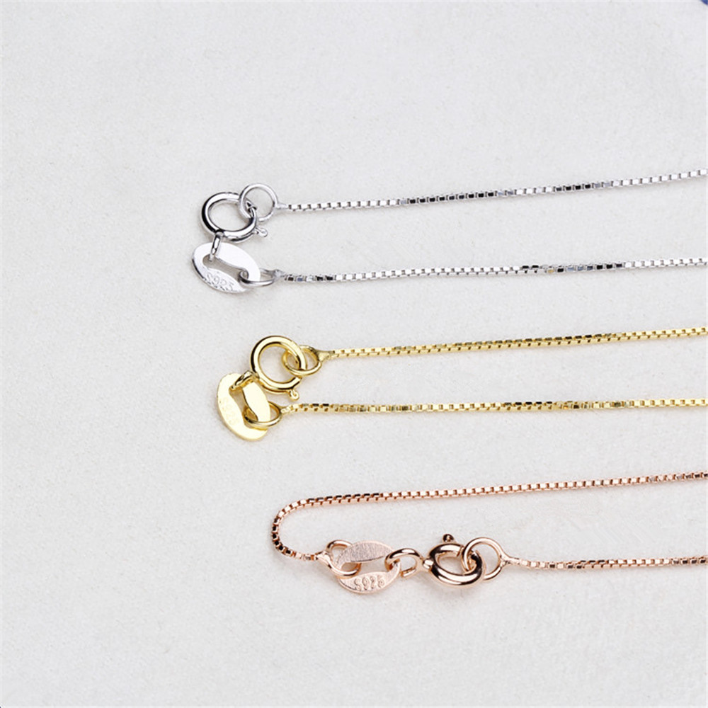 10pcs/lot 40/45cm Box Chain 925 Sterling Silver Necklaces Silver/Gold/Rose Gold Color Fashion Jewelry For Women Promotion