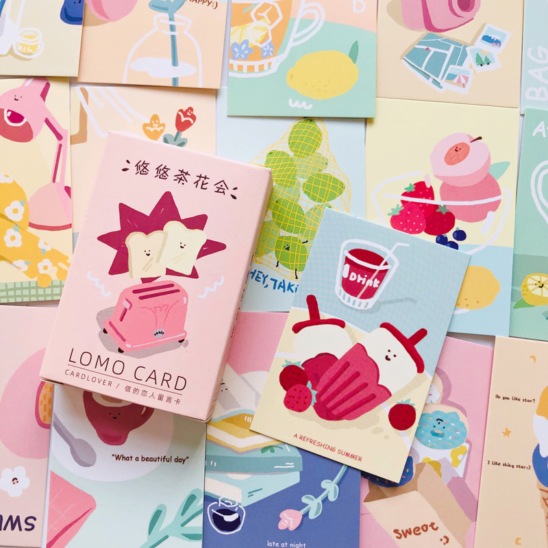 28pcs /Box Sweet Lemon Drink Bread Lomo Card DIY Postcard Post Greeting Card Picture Decor Message Cards