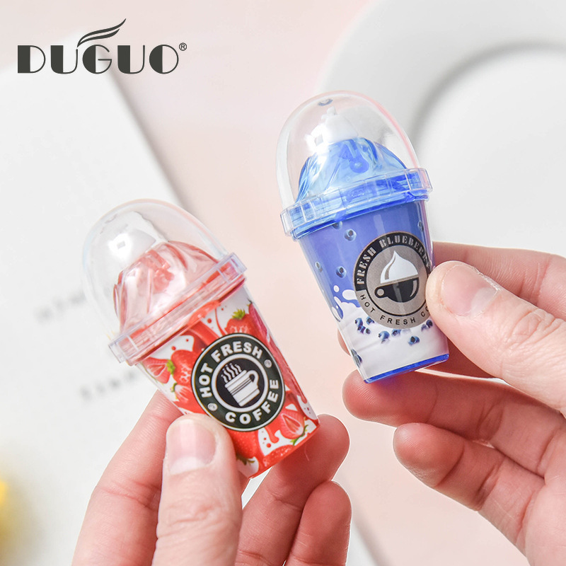 DUGUO Cute Stationery Creative Correction With Milk Tea Cup Altered With Ice Cream Correction With Kawaii School Supplies