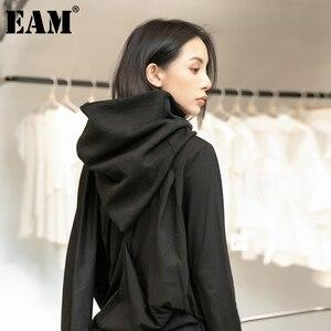 [EAM] Women Black Brief Temperament Keep Warm Hooded Scarf New Long Personality Fashion Tide Autumn Winter 2020 1DD1639