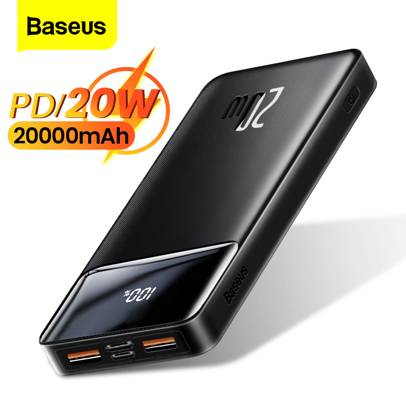 Baseus Power Bank 20000mAh PD 20W Portable Charging Charger External Battery Pack 20000 mAh Powerbank For Phone Xiaomi Poverbank