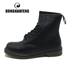 DONGNANFENG Women Female Ladies Shoes Boots Ankle Winter Fur Plush Lace Up Genuine Leather Warm Platform Plus Size 43 44 YDL-666(China)