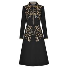 Jakość nowy HIGH Fashion 2021 Runway sukienka damska z długim rękawem oszałamiająca haft koszula Midi kołnierz sukni tanie tanio TR (pochodzenie) Wiosna Poliester COTTON A-LINE Osób w wieku 18-35 lat D200218299 Skręcić w dół kołnierz Pełna REGULAR