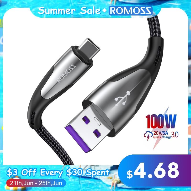 ROMOSS 5A USB Typ C Kabel für Huawei P40 Pro Mate 30 P30 Pro Aufzurüsten 40W SCP Schnelle Lade USB-C Ladegerät Kabel Draht Kabel