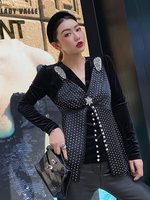 Heavy Craft Diamond V neck Contrast Velvet Shirt Ladies Spring Fashion Wild Personality Tops Fake Two Piece Set