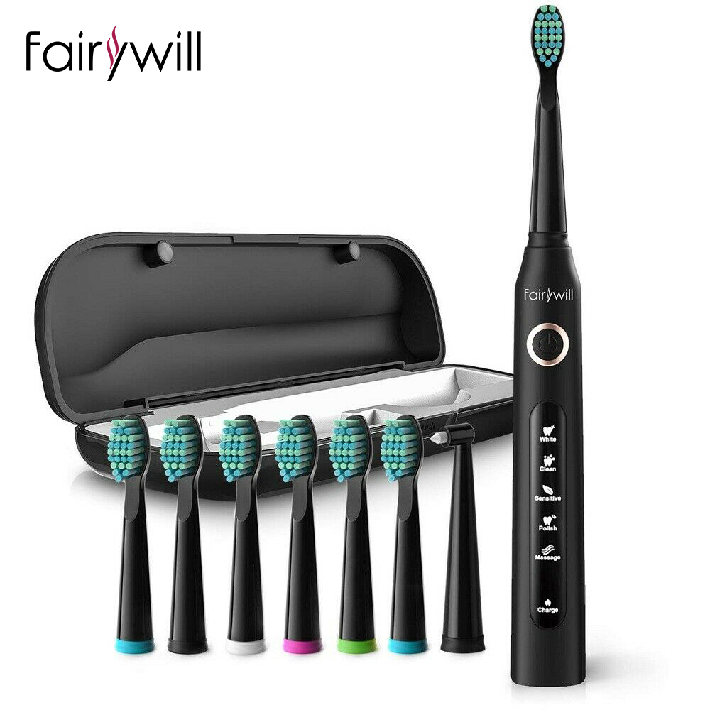 Fairywill Electric Toothbrush for Adults 5 Mode Smart Timer Waterproof Rechargeable Sonic Toothbrushes 8 Brush Heads Travel Case