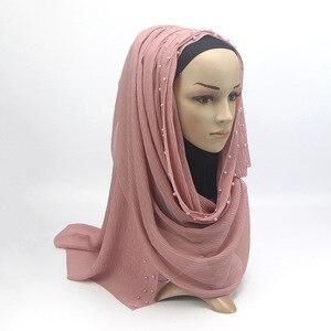 Image 2 - 2020 חדש קיץ מוסלמי מוצק צבע רגיל קפלים פרל חרוזים שיפון חיג אב צעיף נשים קמטים להתקמט ג רזי צעיפים לנשים