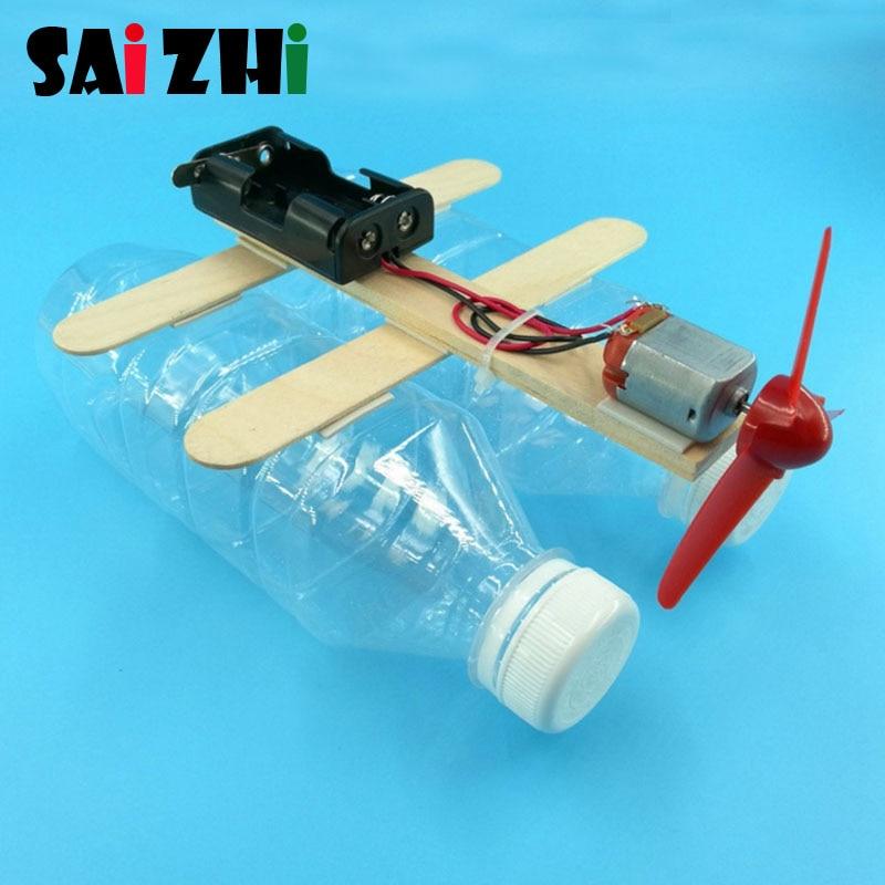 Saizhi Model Toy Diy Machine Electric Wind Boat Toy Developing Intelligent STEM Motor Toy Science Birthday Gift SZ3292